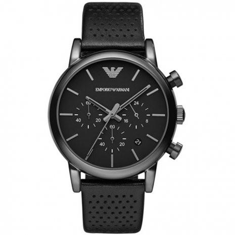 Afbeelding van Armani AR1737 herenhorloge zwart edelstaal PVD