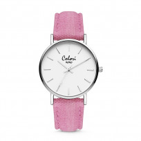 Colori XOXO 5 COL563 Horloge - Denim Band - Ø 36 mm - Roze / Zilverkleurig  1