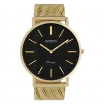 OOZOO C9912 Horloge staal/mesh goudkleurig-zwart 44 mm 1