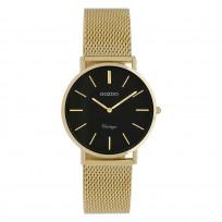 OOZOO C9915 Horloge staal/mesh goudkleurig-zwart 32 mm 1