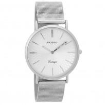 OOZOO C9341 Horloge Vintage zilverkleurig mesh 36 mm  1