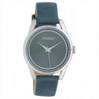 OOZOO JR307 Horloge Junior staal/leder blue 32 mm 1