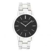OOZOO C20031 Horloge Vintage staal zilverkleurig-zwart 38 mm 1