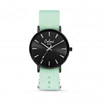 Colori XOXO 5 COL548 Horloge geschenkset met Armband - Nato Band - Ø 36 mm - Mint Groen / Zwart  1