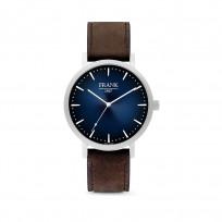 Frank 1967 7FW 0023 Horloge staal/leder zilverkleurig-blauw 42 mm 1