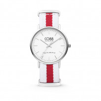 CO88 Horloge staal/nylon rood/wit 36 mm 8CW-10027  1