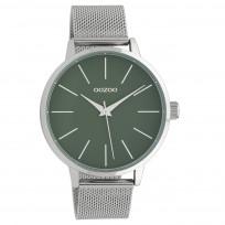OOZOO C10006 Horloge Timepieces Collection staal zilverkleurig-groen 42 mm 1