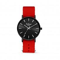 Colori XOXO 5 COL554 Horloge geschenkset met Armband - Nato Band - Ø 36 mm - Rood / Zwart  1