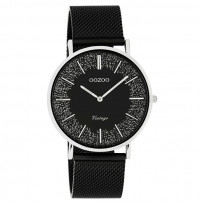 OOZOO C20140 Horloge Vintage Mesh staal zilverkleurig-zwart 40 mm 1