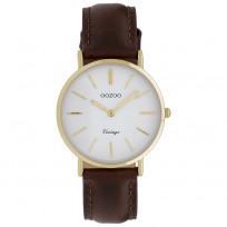 OOZOO C9836 Horloge Vintage staal/leder goudkleurig-bruin 32 mm 1