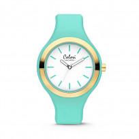 Colori Horloge Macaron staal/siliconen goudkleurig-mintgroen 44 mm 5-COL431 1