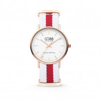 CO88 Horloge staal/nylon rosé/wit/rood 36 mm 8CW-10028  1