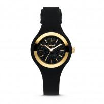 Colori Macaron Sparkle 5 COL541 Horloge - Siliconen Band - Ø 30 mm - Zwart / Goudkleurig  1