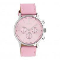 OOZOO C10595 Horloge Timepieces staal/leder zachtroze 40 mm 1