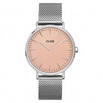 CLUSE CW0101201026 Horloge LA Boheme Mesh zilver- en rosekleurig 38 mm 1
