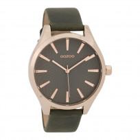 OOZOO Horloge Timepieces Collection staal/leder rosekleurig-donkergrijs C9688 1
