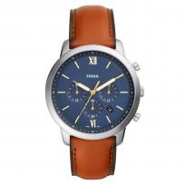 Fossil FS5453 Horloge Neutra Chrono staal/leder zilverkleurig-cognac 44 mm 1
