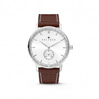 Kaliber 7KW-00001 Horloge met lederen band bruin-zilverkleurig 40 mm 1