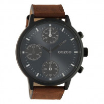 OOZOO C10666 Horloge Timepieces staal/leder bruin-blauw 50 mm 1