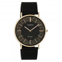 OOZOO C20142 Horloge Vintage Mesh staal rosekleurig-zwart 40 mm 1