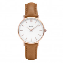 CLUSE CW0101203018 Horloge Minuit staal/leder rosekleurig-caramel 1