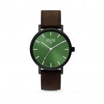 Frank 1967 7FW 0012 Horloge staal/leder groen-donkerbruin 42 mm 1