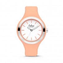 Colori Horloge Macaron staal/siliconen zilverkleurig/perzikoranje 44 mm 5-COL435 1