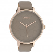 OOZOO C10104 Horloge Timepieces Collection staal/leder rosekleurig-taupe 48 mm 1