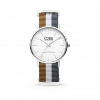CO88 Horloge staal/nylon zilverkleurig/bruin/wit/grijs 36 mm 8CW-10031  1