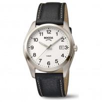 Boccia 3608-13 Horloge Titanium/Leder zilverkleurig-zwart 41 mm 1