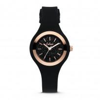 Colori Macaron Sparkle 5 COL542 Horloge - Siliconen Band - Ø 30 mm - Zwart / Rosékleurig  1