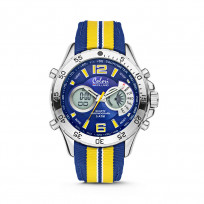 Colori Horloge Holland Sports staal/nylon geel-blauw 48 mm 5-CLD134  1