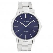 OOZOO C20020 Horloge Vintage staal zilverkleurig-blauw 42 mm 1