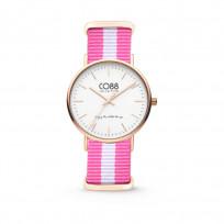 CO88 Horloge staal/nylon rosé/wit/roze 36 mm 8CW-10026  1
