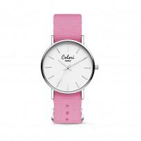Colori XOXO 5 COL557 Horloge geschenkset met Armband - Nato Band - Ø 36 mm - Roze / Zilverkleurig  1