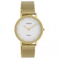 OOZOO C20054 Horloge Vintage Mesh goudkleurig-wit 34 mm 1