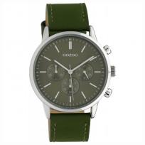 OOZOO C10596 Horloge Timepieces staal/leder olive 40 mm 1