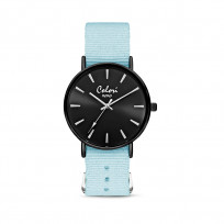 Colori XOXO 5 COL546 Horloge geschenkset met Armband - Nato Band - Ø 36 mm - Licht Blauw / Zwart  1