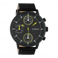 OOZOO C10534 Horloge Timepieces staal/leder geel-zwart 50 mm 1