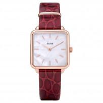CLUSE CW0101207029 Horloge La Tetragone Rosegold Dark Red Alligator  1