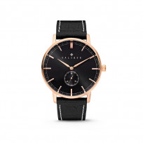 Kaliber 7KW-00004 Horloge met lederen band zwart en rosékleurig 40 mm 1