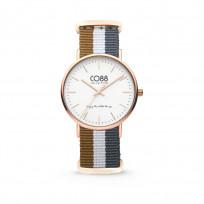 CO88 Horloge staal/nylon rosé/bruin/wit/grijs 36 mm 8CW-10032  1