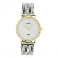 OOZOO C20120 Horloge Vintage Mesh zilver- en goudkleurig-wit parelmoer 32 mm 1