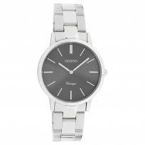 OOZOO C20042 Horloge Vintage staal zilverkleurig-grijs 34 mm 1