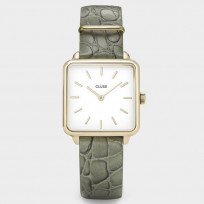 CLUSE CL0101207016 Horloge La Tetragone staal/leder goudkleurig-groen 1