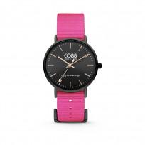 CO88 Horloge staal/nylon 36 mm zwart/roze 8CW-10020 1