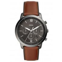 Fossil FS5512 Horloge Neutra Chrono staal/leder 40 mm 1