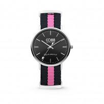 CO88 Horloge staal/nylon zwart/roze 36 mm 8CW-10034  1