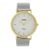 OOZOO C20117 Horloge Vintage Mesh zilver- en goudkleurig-glitter 40 mm 1