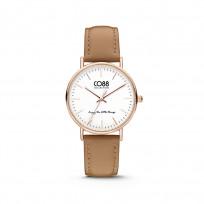CO88 Horloge staal/leder 36 mm rosé/lichtbruin 8CW-10005 1